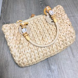 Straw Shell Handbag Purse Zipper Closure Tan G